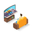 isometric male gamer playing car racing video game vector image vector image