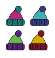 knitting hats icon cold weather isolated on vector image