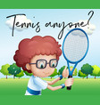 little boy with tennis racket and phrase tennis vector image vector image