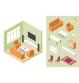 living room isometric home interior and vector image vector image