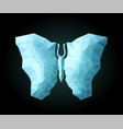 low poly art with beautiful shiny blue butterfly vector image