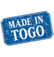 made in Togo blue square grunge stamp vector image vector image