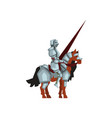 medieval knight sitting on horse and holding lance vector image vector image