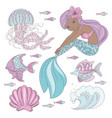 mermaid look princess sea animal vector image vector image