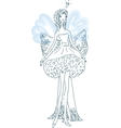 ornate silhouette of the elf bride with wings vector image vector image