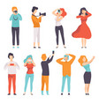people photographing set young men and women vector image vector image
