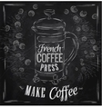 Poster French coffee press chalk vector image vector image