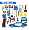 Profession Policeman Icons Set with Police Car vector image vector image