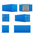 realistic set of bright blue cargo containers vector image vector image