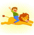 riding a lion vector image vector image