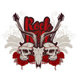 rock and roll banner with guitar skulls and roses vector image
