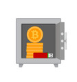 safe with bitcoin coins and flash drives vector image