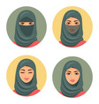set four arab girls avatars in different tradition vector image vector image