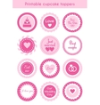 Set of pink cupcake toppers labels for wedding vector image