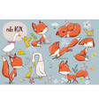 set with cute fox and farm birds vector image vector image