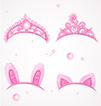 Shining pink girls tiaras with diamonds vector | Price: 1 Credit (USD $1)