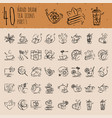 tea hand draw icon set - cup bag kettle vector image