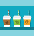 three paper cups with straws vector image