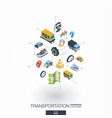 Transportation integrated 3d web icons digital vector image