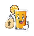 with money bag orange juice character cartoon vector image vector image