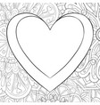 adult coloring bookpage a cute heart on the vector image vector image