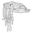 adult coloring bookpage a cute octopus with vector image