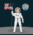 astronaut standing on the moon holding usa flag vector image vector image