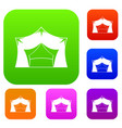 awning tent set color collection vector image vector image