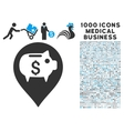 Bank Pointer Icon with 1000 Medical Business vector image vector image
