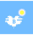 bitcoin in cloud and sun in the shape of a heart vector image vector image