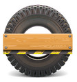 board with truck tire vector image vector image