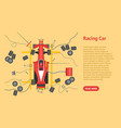 cartoon maintenance racing car card poster vector image
