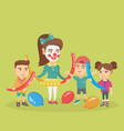 children and animator playing with balloons vector image vector image