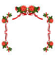 christmas floral holiday frame vector image vector image