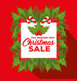 christmas sale label with floral decoration vector image