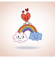 clouds rainbow and heart cute characters vector image vector image