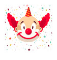 clown face smile in wig and birthday cap vector image vector image