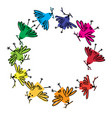 colorful round frame spring birds on white vector image