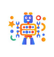 cute robot character artificial robotics machine vector image vector image