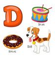 d alphabet vector image vector image