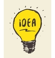 Drawn light bulb idea concept vintage vector image vector image