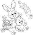 Easter Bunny and Chick vector image