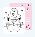 face cat love cute animals sketch wildlife cartoon vector image