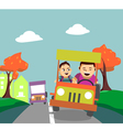 Father and son driving away from the city vector image vector image