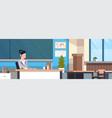 female teacher sitting at desk over chalk board in vector image vector image