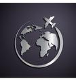 flat metallic logo aircraft and planet vector image vector image
