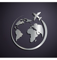 Flat metallic logo of the aircraft and the planet vector image vector image