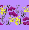floral seamless pattern with different flowers vector image vector image