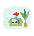 girl on a sofa with laptop flat vector image