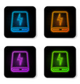 glowing neon power bank icon isolated on white vector image vector image